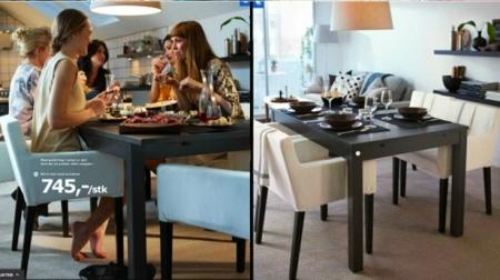 Página del catálogo de IKEA de 2012. A la derecha, la misma página en el catálogo de Arabia Saudí, donde la presencia de las mujeres fue eliminada. Este hecho generó innumerables protestas y terminó con el reconocimiento del error y la petición de disculpas por parte de la empresa.