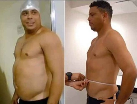 El futbolista Ronaldo antes y después de perder 17 kilos para un programa de la televsiión brasileña a finales de 2012.