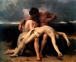 Abel es hallado muerto por Adán y Eva.   William-Adolphe Bouguereau, El Despertar de la Tristeza (1888).