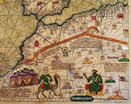 Detalle del Atlas catalán o Mapamundi de los Cresques (siglo XIV)